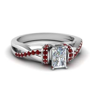 pave twisted radiant cut diamond engagement ring with ruby in 14K white gold FD650953RARGRUDR NL WG GS