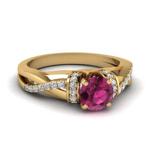 Pink Sapphire Pave Engagement Ring