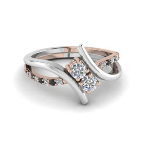 Platinum 2 Stone Black Diamond Ring