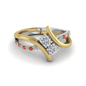 0.72 Ct. Swirl Orange Topaz Ring