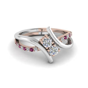 Two Tone Pink Sapphire Ring