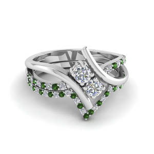 Emerald 2 Stone Bridal Set