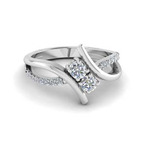 Swirl 2 Stone Diamond Ring