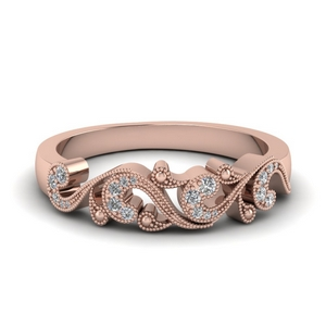 Filigree Design Diamond Wedding Band