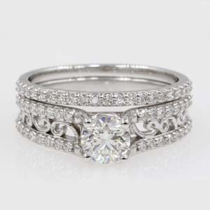 2 row round diamond filigree engagement and wedding ring in 14K white gold FD65515RO