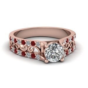 Ruby Filigree Wide Ring