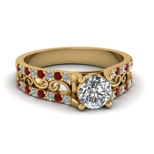 Filigree Ruby Wide Ring