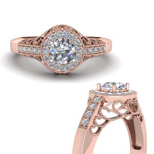 Milgrain Halo Diamond Ring