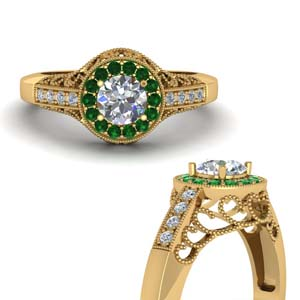 Emerald Filigree Engagement Ring