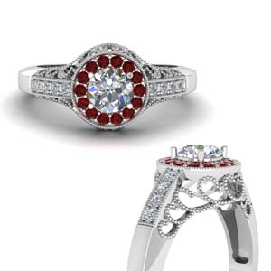Vintage Diamond Ring With Ruby