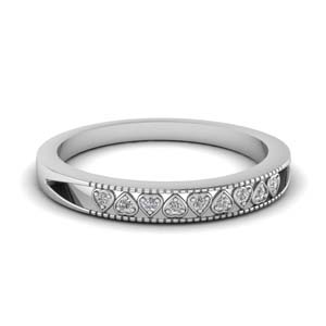 Diamond Band With Heart Design