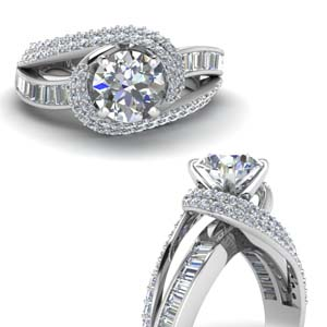 swirl halo diamond engagement ring with baguette in FD67813RORANGLE3 NL WG