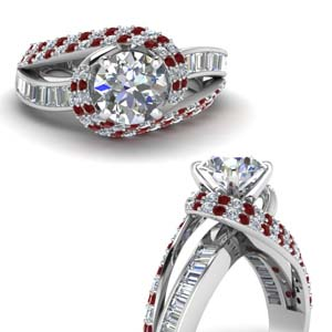 swirl halo diamond and ruby engagement ring with baguette in FD67813RORGRUDRANGLE3 NL WG
