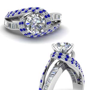swirl halo diamond and sapphire engagement ring with baguette in FD67813RORGSABLANGLE3 NL WG