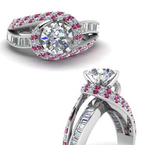 swirl halo diamond and pink sapphire engagement ring with baguette in FD67813RORGSADRPIANGLE3 NL WG
