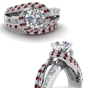Ruby Swirl Halo Wedding Set