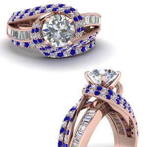 Halo Sapphire Wedding Ring Set