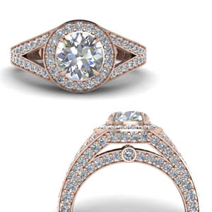 Pave Hidden Diamond Halo Engagement Ring