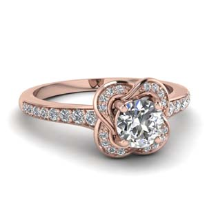 petite floral diamond engagement ring in 14K rose gold FD67927ROR NL RG