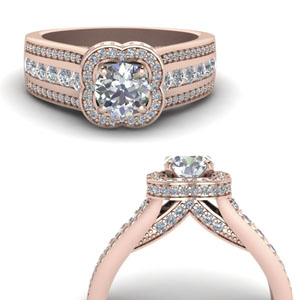 Hidden Halo Floral Diamond Ring