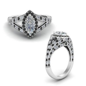 Black Diamond Halo Split Ring