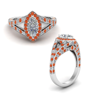 Marquise Shaped Orange Topaz Halo Rings
