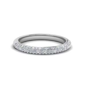 trio micropave diamond womens wedding band in 14K white gold FD68373B NL WG