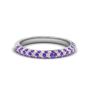 trio micropave diamond womens wedding band with violet topaz in 14K white gold FD68373BGVITO NL WG