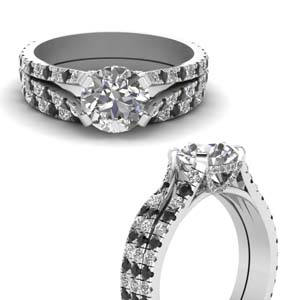 Black Diamond Pave Wedding Set