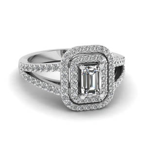 double halo split diamond engagement ring in FD68898EMR NL WG