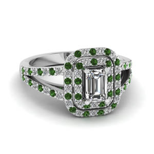 double halo split diamond engagement ring with emerald in FD68898EMRGEMGR NL WG
