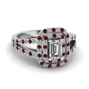 double halo split diamond engagement ring with ruby in FD68898EMRGRUDR NL WG