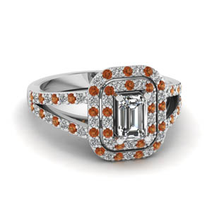double halo split diamond engagement ring with orange sapphire in FD68898EMRGSAOR NL WG