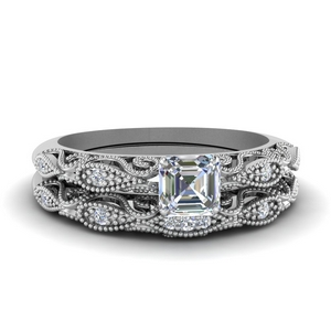 Filigree Diamond Wedding Set