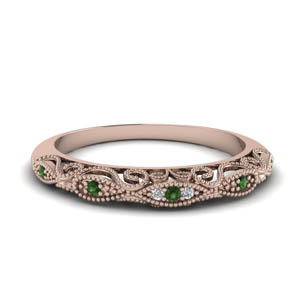 Paisley Emerald Wedding Band