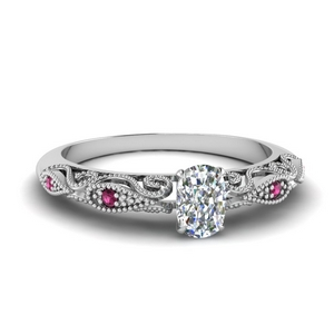 Filigree Cushion Cut Platinum Ring