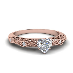 Paisley Heart Diamond Engagement Ring