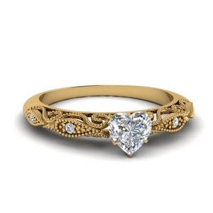 Moissanite Heart Shaped Milgrain Rings