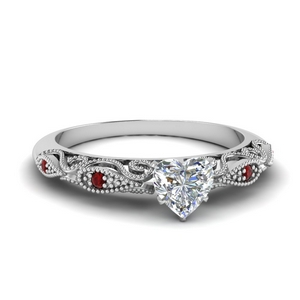 Heart Shaped Diamond Filigree Ring