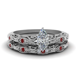 Ruby With Milgrain Wedding Set