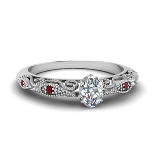 Ruby Filigree Oval Diamond Ring