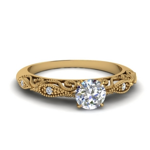 Half Carat Round Filigree Ring