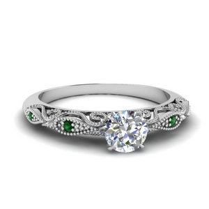 paisley round diamond engagement ring with emerald in FD69805RORGEMGR NL WG.jpg