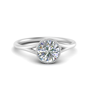 round cut diamond engagement ring in 14K white gold FD69826ROR NL WG