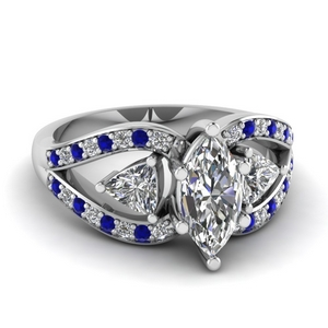 marquise cut trillion antique 3 stone engagement ring with sapphire in FD71589MQRGSABL NL WG
