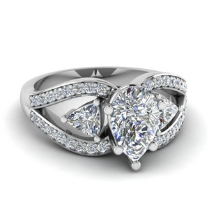 Pear Shaped Butterfly Trillion Ring