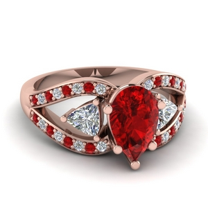 Ruby 3 Stone Engagement Ring