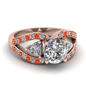 Orange Topaz Round Diamond Ring