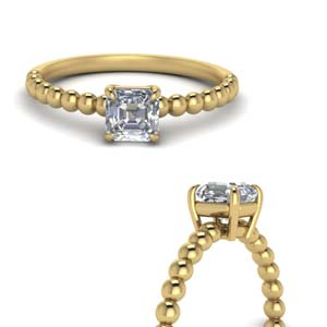 Asscher Cut Bead Solitaire Ring