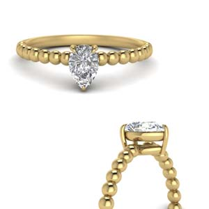 Gold Bead Design Pear Solitaire Ring
